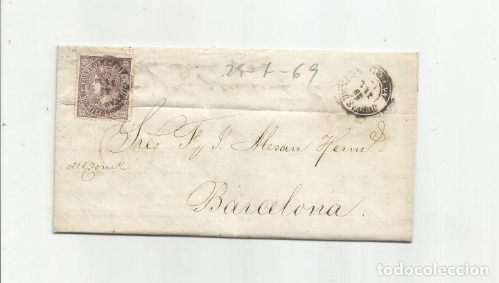 CIRCULADA Y ESCRITA 1869 DE CUEVAS DE VERA ALMERIA A BARCELONA (Sellos - España - Isabel II de 1.850 a 1.869 - Cartas)