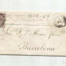 Sellos: CIRCULADA Y ESCRITA 1869 DE CUEVAS DE VERA ALMERIA A BARCELONA. Lote 217446548