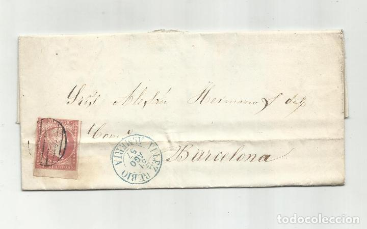 CIRCULADA Y ESCRITA 5800 RV 290 DUROS ESPAÑOLES 1857 DE VELEZ RUBIO ALMERIA A BARCELONA (Sellos - España - Isabel II de 1.850 a 1.869 - Cartas)