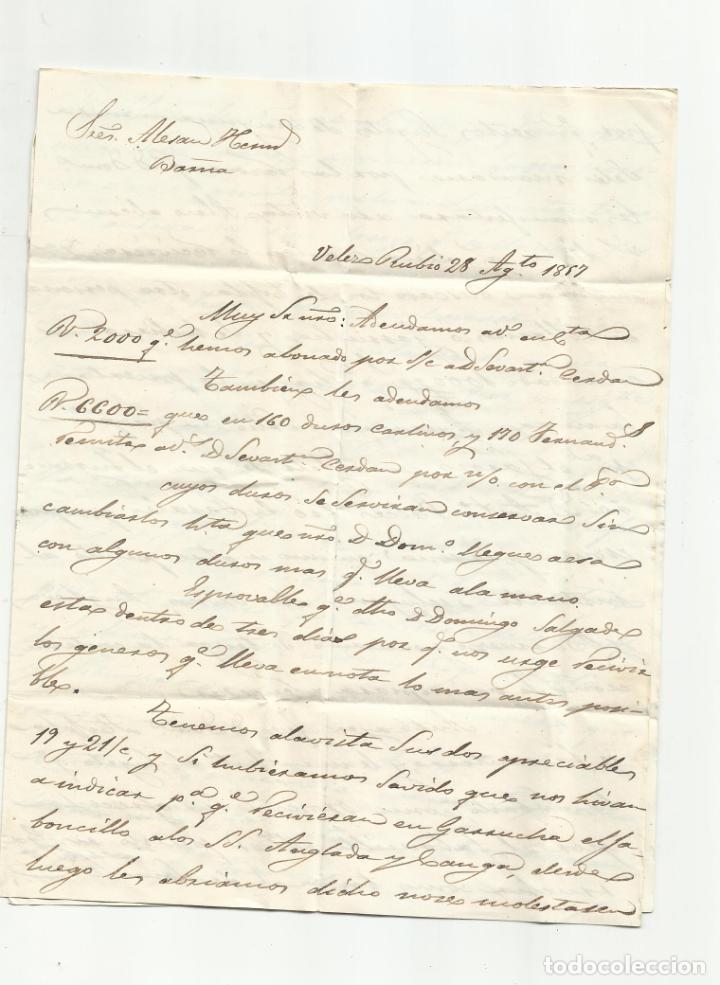 Sellos: circulada Y ESCRITA 1857 DE VELEZ RUBIO ALMERIA A BARCELONA - Foto 2 - 217447820