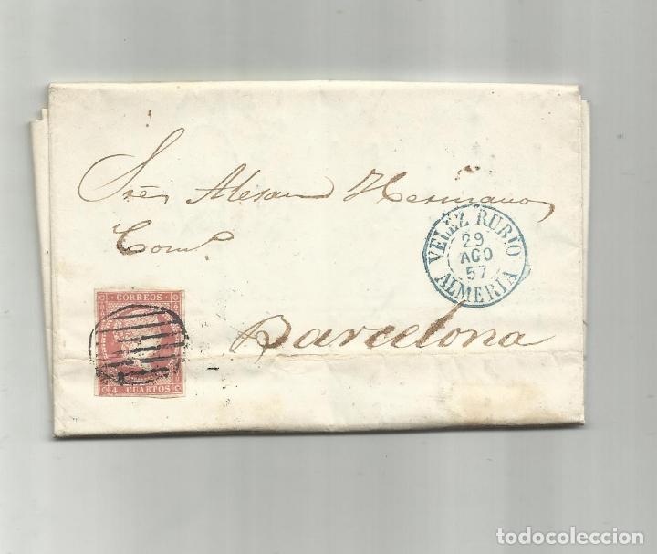 CIRCULADA Y ESCRITA 1857 DE VELEZ RUBIO ALMERIA A BARCELONA (Sellos - España - Isabel II de 1.850 a 1.869 - Cartas)