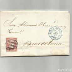 Sellos: CIRCULADA Y ESCRITA 1857 DE VELEZ RUBIO ALMERIA A BARCELONA. Lote 217447820