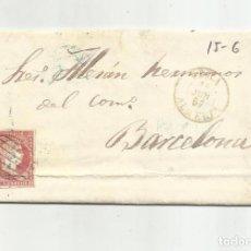 Francobolli: CIRCULADA Y ESCRITA 1857 DE GARRUCHA VERA ALMERIA A BARCELONA. Lote 217447985