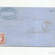 Francobolli: CIRCULADA Y ESCRITA JABONCILLO MINAS SOMONTIN 1857 DE GARRUCHA VERA ALMERIA A BARCELONA. Lote 217449988