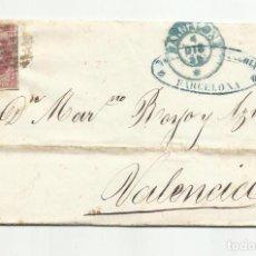 Sellos: ENVUELTA CIRCULADA 1856 DE BARCELONA A VALENCIA. Lote 218168470
