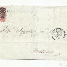 Sellos: CIRCULADA Y ESCRITA TRAFICO MARITIMO 1857 DE CADIZ A VALENCIA. Lote 218168878