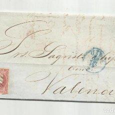 Sellos: CIRCULADA Y ESCRITA LA FRAGATA LLEGÓ A LA HABANA 1856 DE CADIZ A VALENCIA. Lote 218169347