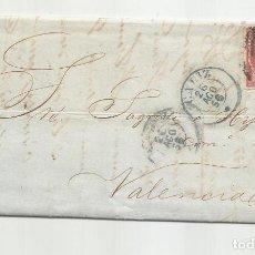 Sellos: CIRCULADA Y ESCRITA MALOS NEGOCIOS 1856 DE CADIZ A VALENCIA. Lote 218169712