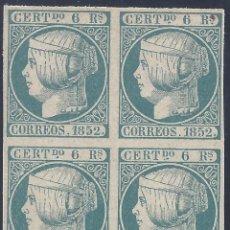 Sellos: EDIFIL 16 ISABEL II. AÑO 1852. BLOQUE DE 4. FALSO FILATÉLICO.. Lote 218506303