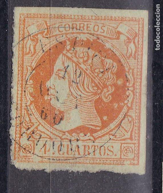 LL25- CLÁSICOS EDIFIL 52 MATASELLOS ESPIEL (CÓRDOBA). VARIEDAD IMPRESIÓN . BOLAS BLANCAS (Sellos - España - Isabel II de 1.850 a 1.869 - Usados)