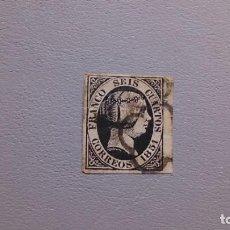 Sellos: ESPAÑA - 1851 - ISABEL II - EDIFIL 6 - BONITO - BORDE DE HOJA - CALCADO AL DORSO - LUJO.. Lote 219425578