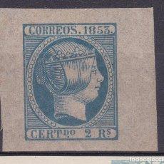 Selos: LL27-CLÁSICOS EDIFIL 19 PRUEBA COLOR AZUL GRANDES MÁRGENES FALSO BOBES * CON FIJASELLOS. Lote 219605738