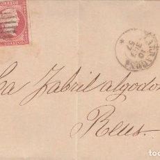 Sellos: CARTA ENTERA CON PAREJA DE SELLOS NUM. 48 DE GOMEZ Y MATHEU EN TARRAGONA DESTINO REUS 1857. Lote 219864262