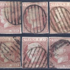 Sellos: EDIFIL 12 ISABEL II AÑO 1852. MATASELLOS PARRILLA NEGRA. LOTE DE 6 SELLOS. LUJO.. Lote 221168212