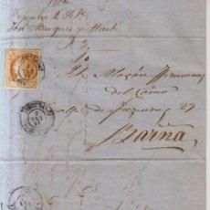 Sellos: AÑO 1860 EDIFIL 52 ISABEL II CARTA MATASELLOS FIGUERAS GERONA JOSE MARQUES Y MARTI. Lote 221592428