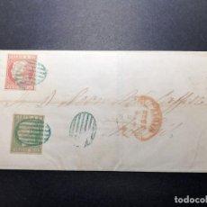 Sellos: CARTA DE 1852. CON DOBLE FRANQUEO, FECHADOR DE CÁDIZ Y PARRILLA. Lote 221613438