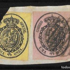 Sellos: 1855 ESCUDO DE ESPAÑA EDIFIL 35 Y 36 MATASELLADOS (LOS DE LA IMAGEN). Lote 221711311