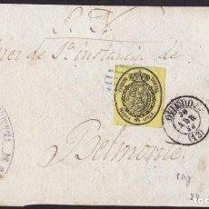 Sellos: 1856. OVIEDO A BELMONTE. MEDIA ONZA ED. 35 S. OFICIAL MAT. PARRILLA. FECHADOR. MUY BONITA ENVUELTA.. Lote 221771362