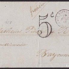 Sellos: 1861. GIJÓN A BAYONA. 12 CUARTOS CARMÍN ED. 53 MAT. FECHADOR TIPO II. TRÁNSITO Y P.D. MUY BONITA.. Lote 221771573