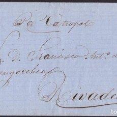 Sellos: 1863. GIJÓN A RIVADEO. 4 CUARTOS MARRÓN ED. 58 MAT. FECH.TIPO II. ANOTACIÓN POR CASTROPOL. PRECIOSA.. Lote 221771856