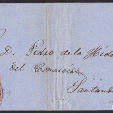 Sellos: 1863. OVIEDO A SANTANDER. 4 CUARTOS MARRÓN ED. 58 MAT. RC 12. FECHADOR TIPO II. BONITA ENVUELTA.. Lote 221772151
