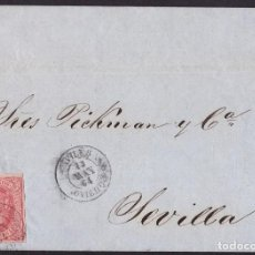 Sellos: 1864. AVILÉS A SEVILLA. 4 CUARTOS SALMÓN ED. 64 MAT. FECHADOR TIPO II. MUY BONITA ENVUELTA.. Lote 221772331