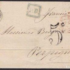 Sellos: 1868. LLANES A PERPIÑÁN. 12 CUARTOS NARANJA ED. 98A MAT. FECH TIPO II. TRÁNSITO Y P.D. MUY BONITA.. Lote 221772777