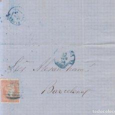 Sellos: AÑO 1856 EDIFIL 48 ISABEL II CARTA MATASELLOS REJILLA AZUL TORTOSA MEMBRETE B. ESTRANY. Lote 221806663