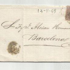 Sellos: CIRCULADA Y ESCRITA NEGOCIOS DE PLOMO 1869 DE GARRUCHA VERA ALMERIA A BARCELONA. Lote 221810601