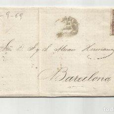 Sellos: CIRCULADA Y ESCRITA NEGOCIOS SULFATO 1869 DE GARRUCHA VERA ALMERIA A BARCELONA. Lote 221812361