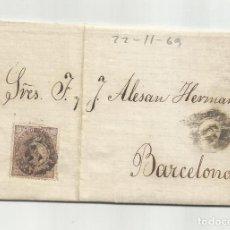 Sellos: CIRCULADA Y ESCRITA 1869 DE GARRUCHA VERA ALMERIA A BARCELONA. Lote 221858891