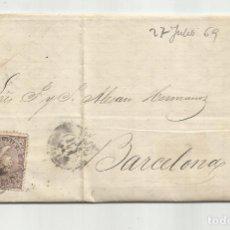 Sellos: CIRCULADA Y ESCRITA 1869 DE GARRUCHA VERA ALMERIA A BARCELONA. Lote 221859053