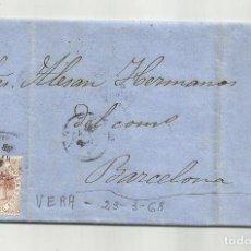 Sellos: CIRCULADA Y ESCRITA NEGOCIOS DE MAIZ 1868 DE GARRUCHA VERA ALMERIA A BARCELONA CON FECHADOR LLEGADA. Lote 221859381