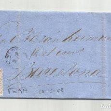 Sellos: CIRCULADA Y ESCRITA NEGOCIOS DE HARINA 1868 DE GARRUCHA VERA ALMERIA A BARCELONA. Lote 221859418