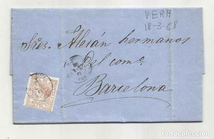 CIRCULADA Y ESCRITA EMBARQUE LAUD CONSUELO 1868 DE GARRUCHA VERA ALMERIA A BARCELONA (Sellos - España - Isabel II de 1.850 a 1.869 - Cartas)