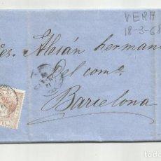 Sellos: CIRCULADA Y ESCRITA EMBARQUE LAUD CONSUELO 1868 DE GARRUCHA VERA ALMERIA A BARCELONA. Lote 221859478