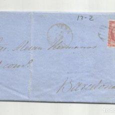 Sellos: CIRCULADA Y ESCRITA NEGOCIOS JABONCILLO 1857 DE GARRUCHA VERA ALMERIA A BARCELONA. Lote 221861847