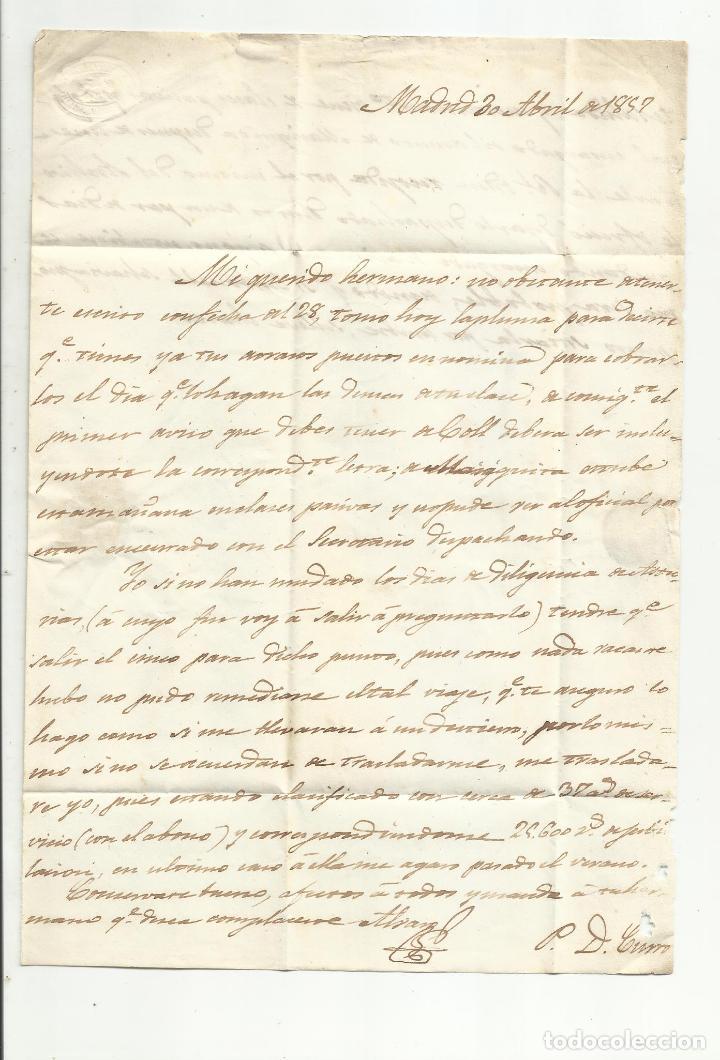 Sellos: circulada Y ESCRITA 1857 DE MADRID A PALMA DE MALLORCA - Foto 2 - 221862840