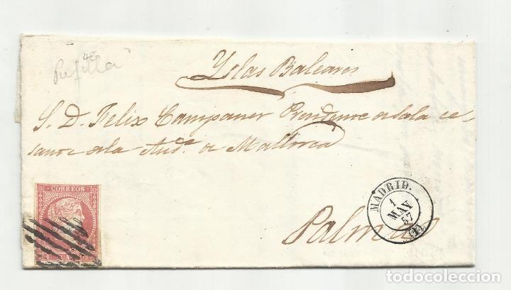 CIRCULADA Y ESCRITA 1857 DE MADRID A PALMA DE MALLORCA (Sellos - España - Isabel II de 1.850 a 1.869 - Cartas)