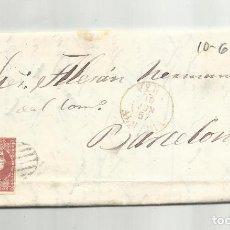 Sellos: CIRCULADA Y ESCRITA EMBARQUE JABONCILLO 1857 DE GARRUCHA VERA ALMERIA A BARCELONA. Lote 221863147