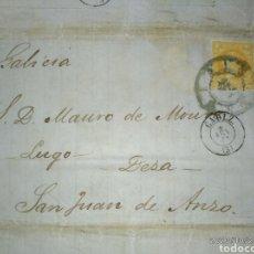 Sellos: CARTA DE CÁDIZ A LALIN-PONTEVEDRA CON SELLO 4 CUARTOS DE 1861. MATASELLO RUEDA DE CARRETA.. Lote 221955695