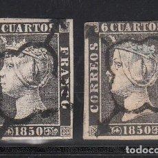 Sellos: ESPAÑA, 1850 EDIFIL Nº 1, 1A, 6 CU. NEGRO TIPO I, II. Lote 221959182