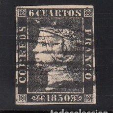 Sellos: ESPAÑA, 1850 EDIFIL Nº 1, 6 CU. NEGRO TIPO I, MATASELLOS LÍNEAS NEGRAS DE LOGROÑO. Lote 221959773