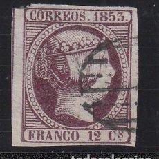 Sellos: ESPAÑA, 1853 EDIFIL Nº 15, 12 CU. VIOLETA. ISABEL II. Lote 221961796
