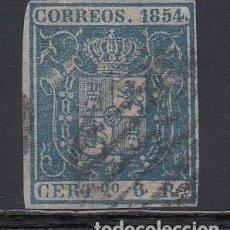 Sellos: ESPAÑA, 1854 EDIFIL Nº 27, 6 R. AZUL. ESCUDO DE MADRID. Lote 221965207