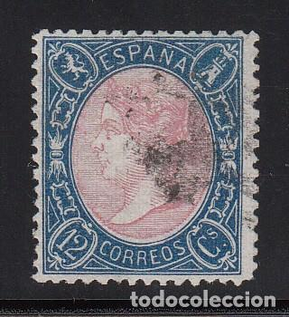 ESPAÑA, 1865 EDIFIL Nº 76, 12 CU. AZUL Y ROSA. ISABEL II. (Sellos - España - Isabel II de 1.850 a 1.869 - Usados)