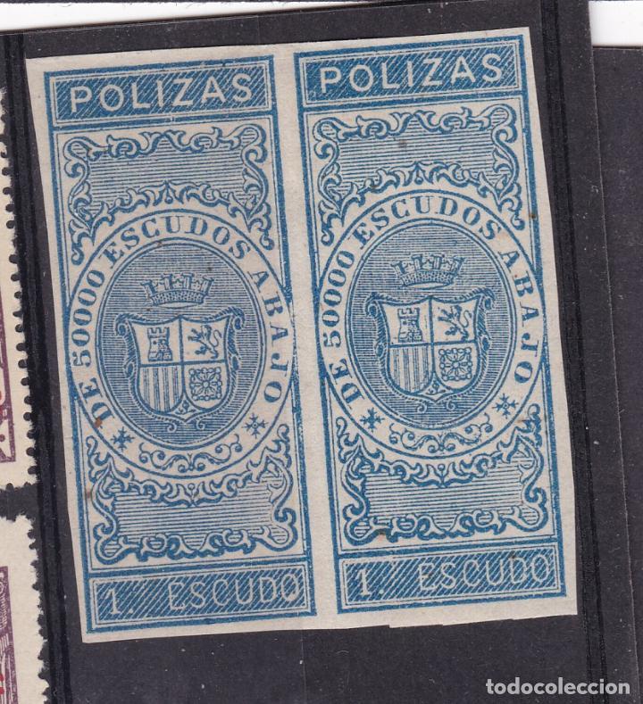 JJ6- FISCALES PÓLIZAS 1 ESCUDO. PAREJA SIN DENTAR . NUEVOS * CON FIJASELLOS (Sellos - España - Isabel II de 1.850 a 1.869 - Nuevos)