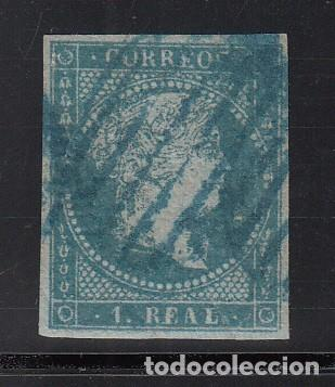 ESPAÑA, 1855 EDIFIL Nº 41, 1 R. AZUL, ISABEL II. MATASELLOS PARRILLA AZUL (Sellos - España - Isabel II de 1.850 a 1.869 - Usados)