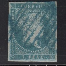 Sellos: ESPAÑA, 1855 EDIFIL Nº 41, 1 R. AZUL, ISABEL II. MATASELLOS PARRILLA AZUL. Lote 221969771