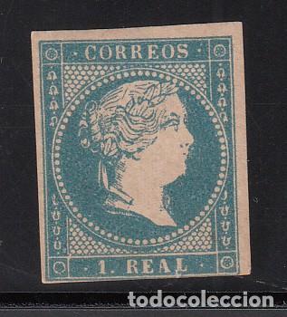 ESPAÑA, 1855 EDIFIL Nº 49 (*), 1 R. AZUL, ISABEL II. (Sellos - España - Isabel II de 1.850 a 1.869 - Nuevos)